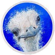 Ostrich Painting 'waldo' By Jan Matson Round Beach Towel by Jan Matson