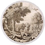 Otter Hunting By A River, Engraved Round Beach Towel by Francis Barlow
