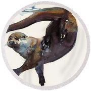 Otter Study II  Round Beach Towel by Mark Adlington