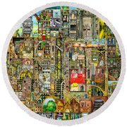 Our Town Round Beach Towel by Colin Thompson