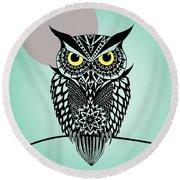 Owl 5 Round Beach Towel by Mark Ashkenazi