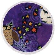 Owl With Mask Round Beach Towel by Anne Tavoletti