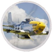 P51 Ferocious Frankie Round Beach Towel by Pat Speirs
