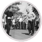 Palmer, Player And Nicklaus Round Beach Towel by Underwood Archives