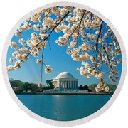 Panoramic View Of Jefferson Memorial Round Beach Towel by Panoramic Images