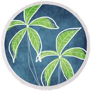 Paradise Palm Trees Round Beach Towel by Linda Woods