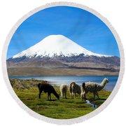 Parinacota Volcano Lake Chungara Chile Round Beach Towel by Kurt Van Wagner