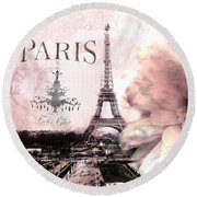 Paris Dreamy Eiffel Tower Montage - Paris Romantic Pink Sepia Eiffel Tower And Flower French Script Round Beach Towel by Kathy Fornal