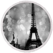 Paris Eiffel Tower Surreal Black And White Photography - Eiffel Tower Bokeh Surreal Fantasy Night  Round Beach Towel by Kathy Fornal
