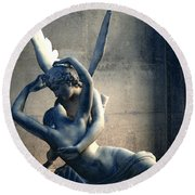 Paris Eros And Psyche Romantic Lovers - Paris In Love Eros And Psyche Louvre Sculpture  Round Beach Towel by Kathy Fornal