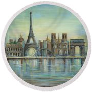Paris Highlights Round Beach Towel by Marilyn Dunlap