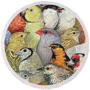 Patchwork Birds Round Beach Towel by Ditz