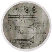 Patent Art Trombone Round Beach Towel by Dan Sproul