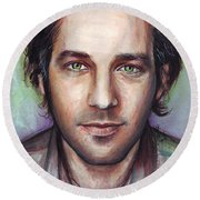 Paul Rudd Portrait Round Beach Towel by Olga Shvartsur