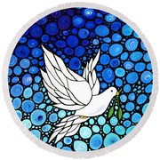 Peaceful Journey - White Dove Peace Art Round Beach Towel by Sharon Cummings