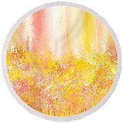 Peach And Yellow Garden- Peach And Yellow Art Round Beach Towel by Lourry Legarde