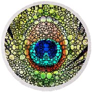 Peacock Feather - Stone Rock'd Art By Sharon Cummings Round Beach Towel by Sharon Cummings