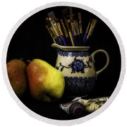 Pears And Paints Still Life Round Beach Towel by Jon Woodhams