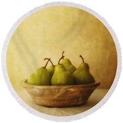 Pears In A Wooden Bowl Round Beach Towel by Priska Wettstein