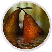 Pears In Water Round Beach Towel by Kaye Menner
