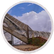 Pedestrian Bridge Over A River, Snake Round Beach Towel by Panoramic Images