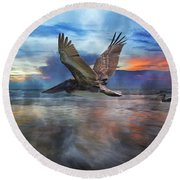 Pelican Sunrise Round Beach Towel by Betsy Knapp