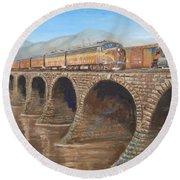 Pennsylvania Railroad On The Rockville Bridge Round Beach Towel by Christopher Jenkins