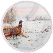 Pheasant And Bramblefinch In The Snow Round Beach Towel by Carl Donner
