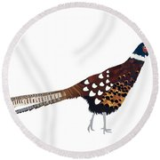 Pheasant Round Beach Towel by Isobel Barber