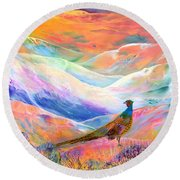 Pheasant Moon Round Beach Towel by Jane Small