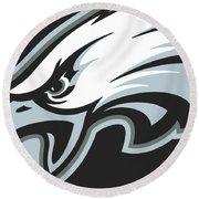 Philadelphia Eagles Football Round Beach Towel by Tony Rubino