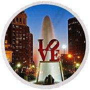 Philadelphia Love Park Round Beach Towel by Nick Zelinsky