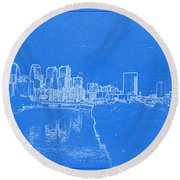 Philadelphia Skyline Blueprint Round Beach Towel by Celestial Images