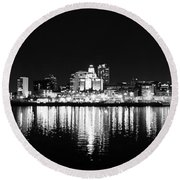 Philadelphia Skyline Panorama In Black And White Round Beach Towel by Bill Cannon