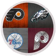 Philadelphia Sports Fan Recycled Vintage Pennsylvania License Plate Art Flyers Eagles 76ers Phillies Round Beach Towel by Design Turnpike