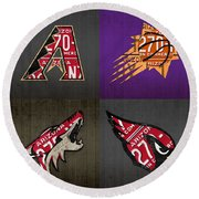 Phoenix Sports Fan Recycled Vintage Arizona License Plate Art Diamondbacks Suns Coyotes Cardinals Round Beach Towel by Design Turnpike