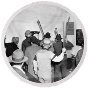 Pickets Ready For Strike Round Beach Towel by Underwood Archives