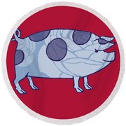 Piddle Valley Pig Round Beach Towel by Sarah Hough