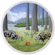 Piggy In The Middle Round Beach Towel by Ditz