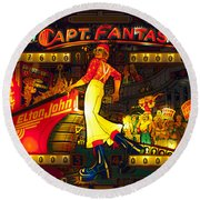 Pinball Machine Capt. Fantastic Round Beach Towel by Terry DeLuco