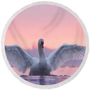 Pink Swan Round Beach Towel by Roeselien Raimond