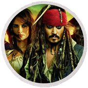 Pirates Of The Caribbean Stranger Tides Round Beach Towel by Movie Poster Prints