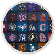 Play Ball Recycled Vintage Baseball Team Logo License Plate Art Round Beach Towel by Design Turnpike