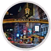Playhouse Square Round Beach Towel by Frozen in Time Fine Art Photography