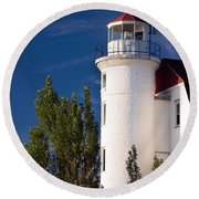 Point Betsie Lighthouse Michigan Round Beach Towel by Adam Romanowicz