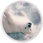 Polar Bear Cub Round Beach Towel by Mark Newman