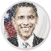 Popular President Obama Typography Portrait Round Beach Towel by Celestial Images