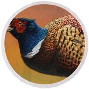 Portrait Of A Pheasant Round Beach Towel by James W Johnson