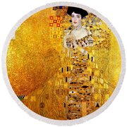 Portrait Of Adele Bloch-bauer Art Nouveau Round Beach Towel by Masterpieces Of Art