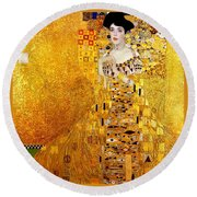 Portrait Of Adele Bloch-bauer Round Beach Towel by Gustav Klimt